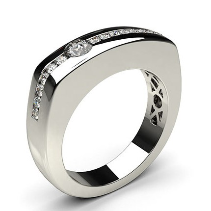 Semi Bezel Setting Round Diamond Mens Ring