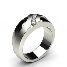 Round White Gold Mens Diamond Rings