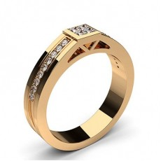 Round Rose Gold Men's Diamond Rings