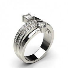Pave Setting Round & Princess Diamond Fashion Ring