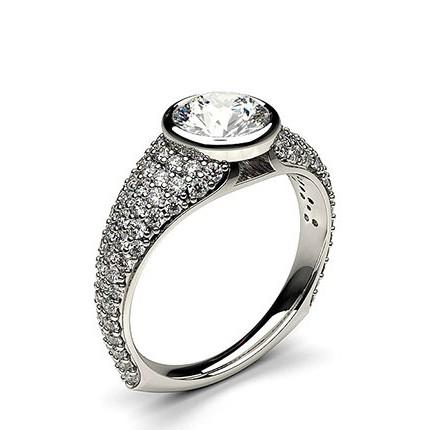 Full Bezel Setting Studded Engagement Ring