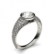 Bague de fiançailles vintage épaulée diamant rond serti 4 griffes et pavé