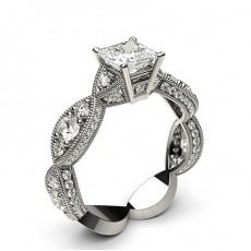 Princess White Gold  Vintage Diamond Engagement Rings