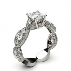 Princess Platinum Contemporary Engagement Rings