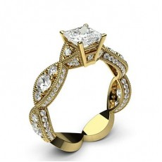 Princess Yellow Gold Contemporary Diamond Engagement Rings