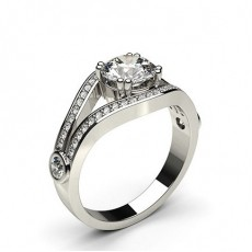 4 Prong Setting Studded Engagement Ring