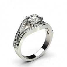 Bague de fiançailles vintage diamant rond serti clos et pavé