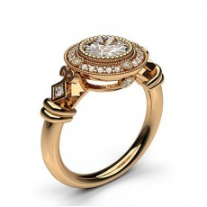Round Rose Gold Vintage Engagement Rings