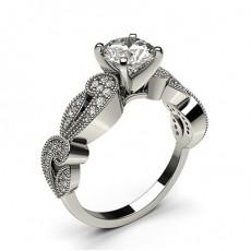 Bague 3 pierres diamant rond serti 6 griffes