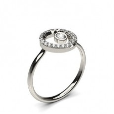 0.20ct. Full Bezel & Prong Setting Round Diamond Promise Ring