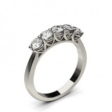 Round Platinum 5 Stone Diamond Rings