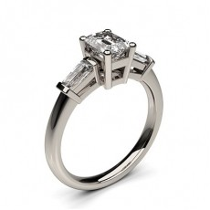 Baguette Platinum 3 Stone Diamond Rings