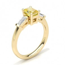 Baguette Yellow Gold Yellow Diamond Rings