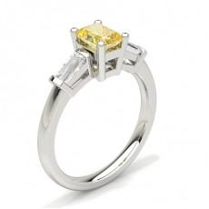 White Gold Round Yellow Diamond Engagement Ring
