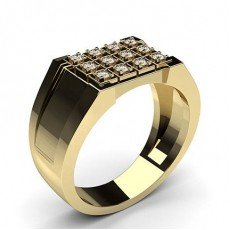 Round Yellow Gold Mens Diamond Rings