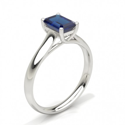 4 Prong Emerald Shaped Blue Sapphire Engagement Ring