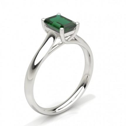 4 Prong Emerald Shaped Emerald Engagement Ring