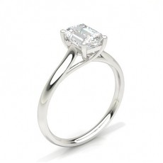 White Gold Emerald Diamond Engagement Ring