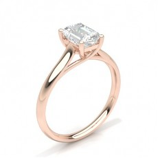 Emerald Rose Gold  Solitaire Diamond Engagement Rings