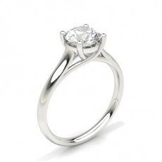 Round Platinum Solitaire Diamond Rings