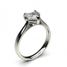 Heart Platinum Solitaire Diamond Rings