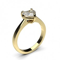 Heart Yellow Gold  Solitaire Engagement Rings