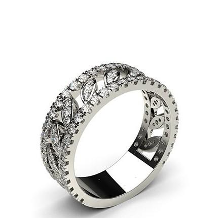 4 Prong & Pave Setting Round Diamond Fashion Ring