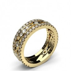 Round Yellow Gold  Statement Diamond Rings