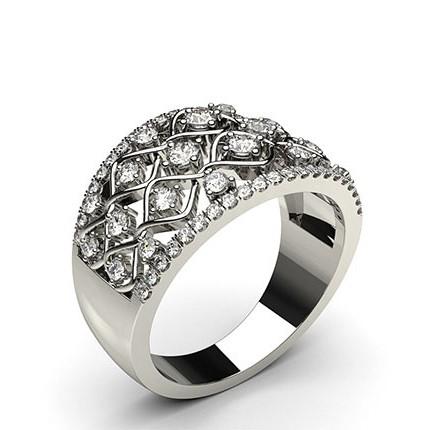4 Prong Setting Round Diamond Fashion Ring