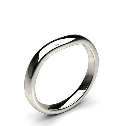 2.60mm Slight Comfort Profile Plain Shaped Wedding Band