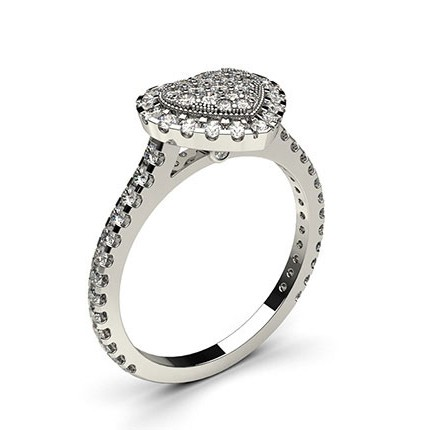 4 Prong & Full Bezel Setting Round Diamond Cluster Ring