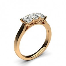 Emerald Rose Gold 3 Stone Diamond Rings