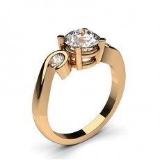 4 Prong & Semi Bezel Setting Plain Three stone Ring