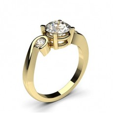 Round Yellow Gold Trilogy Diamond Engagement Rings