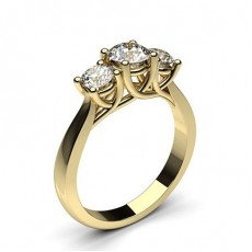 Prong Setting Plain Three Stone Engagement Ring
