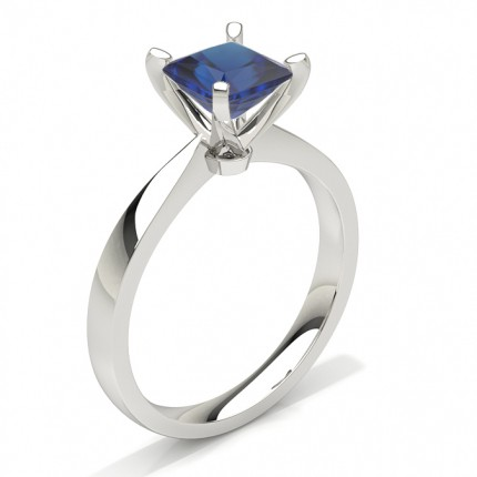 Princess Plain Blue Sapphire Engagement Ring