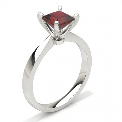 Princess Plain Ruby Engagement Ring