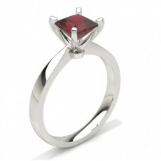Princess White Gold Gemstone Engagement Rings
