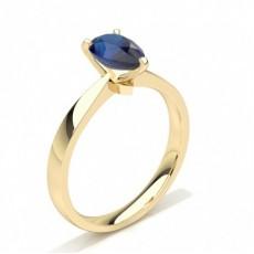 Pear Yellow Gold Gemstone Diamond Rings