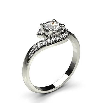 Channel Setting Round Diamond Plain Engagement Ring