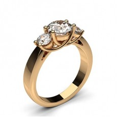 Round Rose Gold Trilogy Diamond Rings