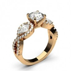 Pear Rose Gold 3 Stone Diamond Rings