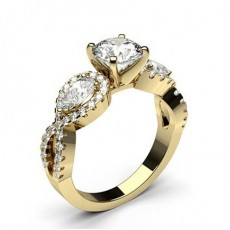 Pear Yellow Gold Diamond Rings