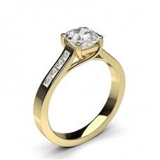 Asscher Yellow Gold  Side Stone Diamond Engagement Rings