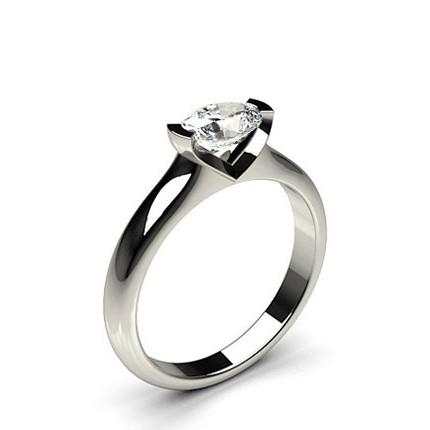 Bar Setting Oval Diamond Engagement Ring