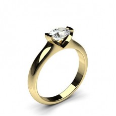Oval Yellow Gold Solitaire Diamond Rings