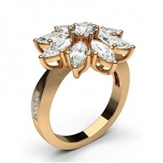 Mixed Shapes Rose Gold Cluster Diamond Rings