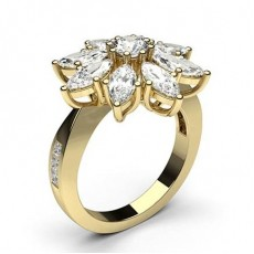 Mixed Shapes Yellow Gold Cluster Diamond Rings