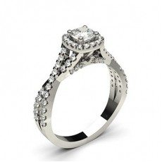 Cushion Platinum Contemporary Engagement Rings