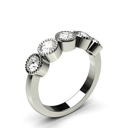 Bezel Setting Plain Five Stone Ring